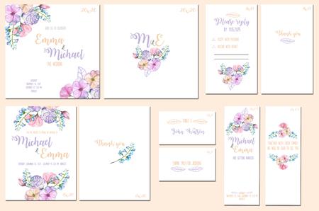 テンプレート カード セット ピンクと紫の花の水彩画。結婚式の招待状のデザイン、数、返事、ありがとうカード、記念日を