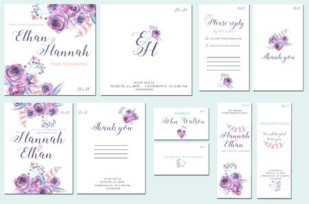 Template cards set with watercolor purple roses; wedding design for invitation, number, RSVP, Thank you card, for anniversary day
