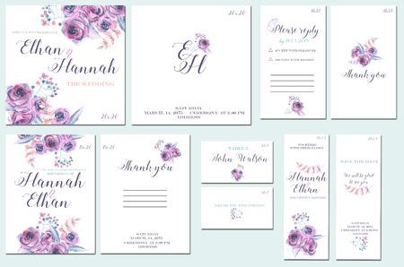 Tarjetas de plantilla se establece con la acuarela rosas púrpuras; diseño de la boda para la invitación, número, RSVP, gracias las tarjetas, para el día de aniversario Foto de archivo