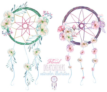 an amulet: Illustration with floral dreamcatchers, hand drawn isolated in watercolor on a white background