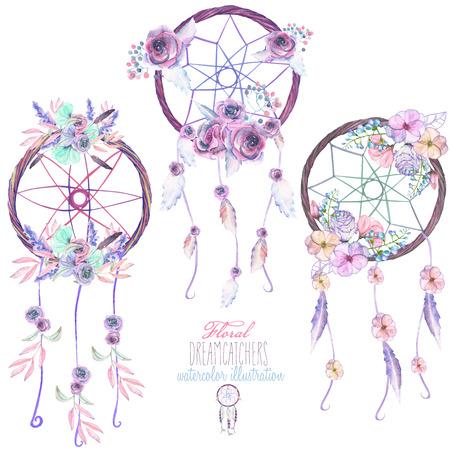 Ilustración con dreamcatchers florales, dibujado a mano aislado en acuarela sobre un fondo blanco Foto de archivo - 71641437