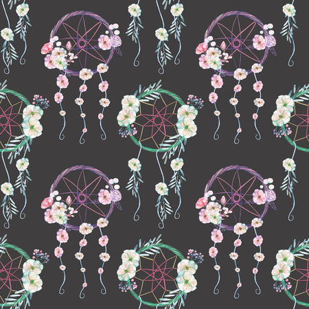 liana: Seamless pattern with floral dreamcatchers, hand drawn isolated in watercolor on a dark background