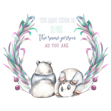 図では、白い背景、招待状、グリーティング カードに分離された 2 つの水彩画パンダ、ピンクと紫の植物、手描きと花輪 写真素材