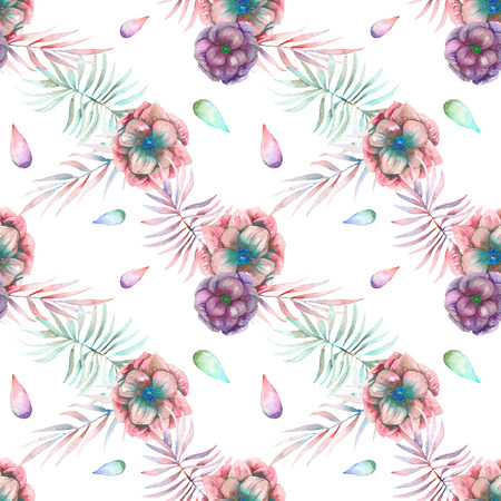 florescence: Seamless pattern with the watercolor anemone flowers and branches, hand drawn on a white background Stock Photo