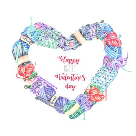 水彩の編み物の要素を持つハート フレーム: 糸・編み針・かぎ針編みのフック。白地に手書き