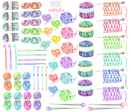 Set, collection with watercolor knitting elements: yarn, knitting needles and crochet hooks; hand drawn isolated on a white background