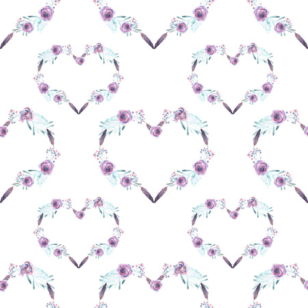 florescence: Seamless pattern with watercolor hearts of purple flowers, hand drawn on a white background Stock Photo