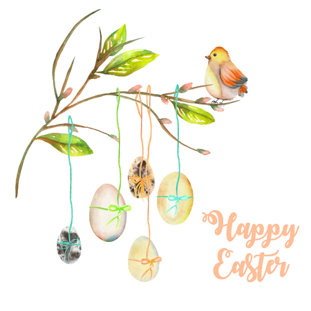 Illustration of Easter eggs on the spring tree branches, hand drawn isolated on a white background Stock Photo