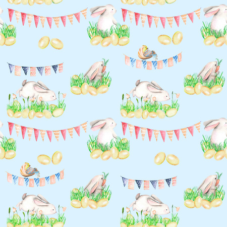 Seamless pattern with watercolor Easter rabbits in grass, eggs and garlands with flags, hand drawn on a blue background Stock Photo
