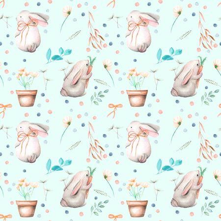Seamless pattern with watercolor rabbits, floral elements and flowers in a pots, hand drawn isolated on a tender blue background Stock Photo