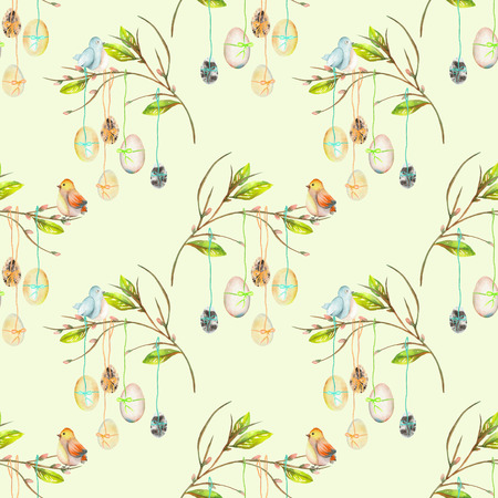 Seamless pattern with Easter eggs on the spring tree branches, hand drawn isolated on a light green background Stock Photo