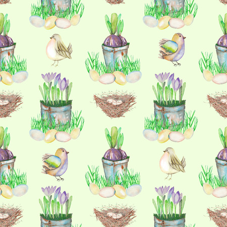 paschal: Seamless pattern with watercolor Easter bird eggs, nests, crocus flowers in the pots and cute birds, hand drawn on a light green background Stock Photo