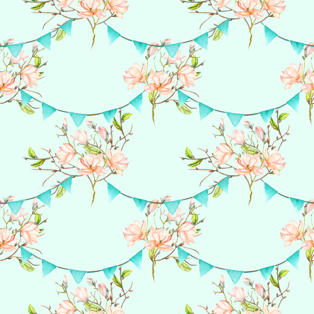 Seamless pattern with garlands of the blue flags on spring magnolia tree branches, hand drawn on a blue background