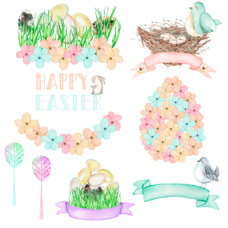 Set, collection of watercolor Easter illustrations, hand drawn isolated on a white background
