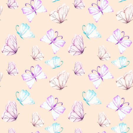 flit: Seamless pattern with watercolor tender purple and mint butterflies, hand drawn isolated on a pink background