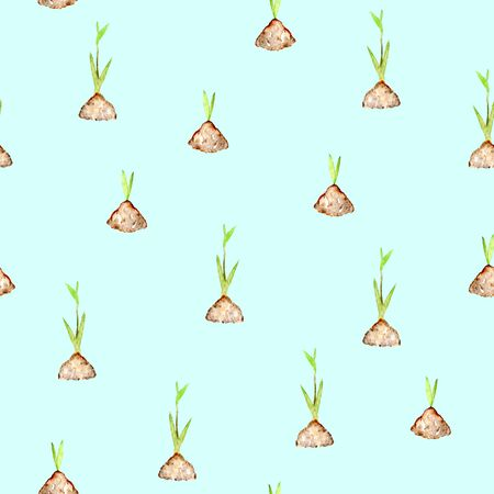 bourgeon: Seamless pattern with watercolor spring green plant sprouts from the soil, hand drawn isolated on a blue background