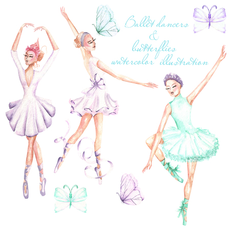 Set, collection of watercolor ballet dancers and butterflies illustrations, hand drawn isolated on a white background Stock Photo