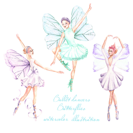 Set, collection of watercolor ballet dancers with butterfly wings illustrations, hand drawn isolated on a white background