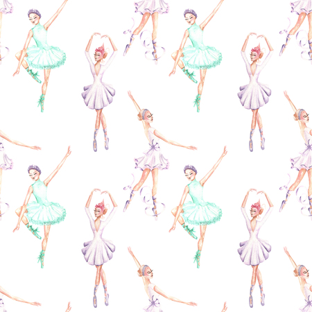 Seamless pattern with watercolor ballet dancers, hand drawn isolated on a white background