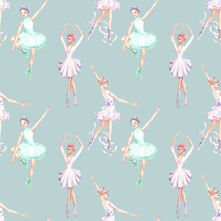 Seamless pattern with watercolor ballet dancers, hand drawn isolated on a blue background
