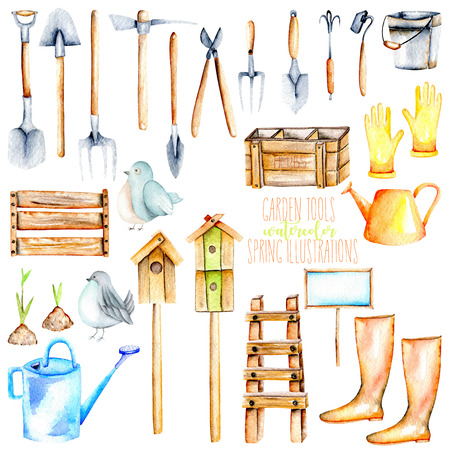 Set, collection of watercolor objects of garden tools illustrations, hand drawn isolated on a white background