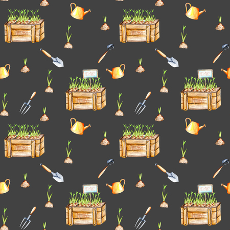 tackle box: Seamless pattern with isolated watercolor seedling in a wood boxes and garden tools, painted on a dark background