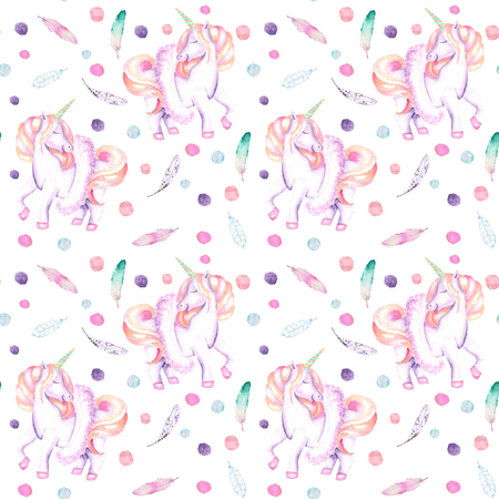 Seamless pattern with watercolor pink unicorn in tutu, feathers and confetti, hand drawn isolated on a white background Stock Photo
