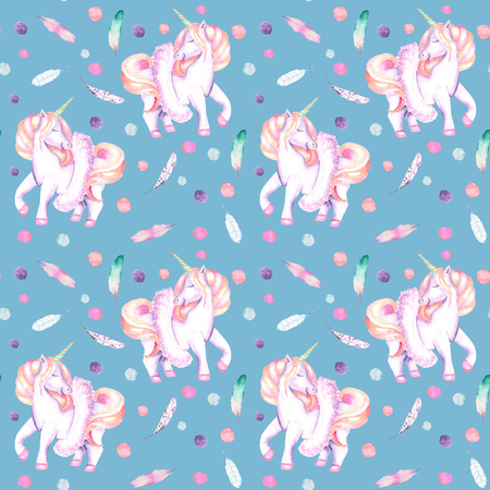 Seamless pattern with watercolor pink unicorn in tutu, feathers and confetti, hand drawn isolated on a bright blue background Stock Photo