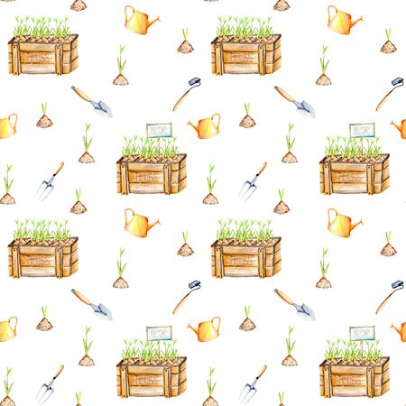 tackle box: Seamless pattern with isolated watercolor seedling in a wood boxes and garden tools, painted on a white background