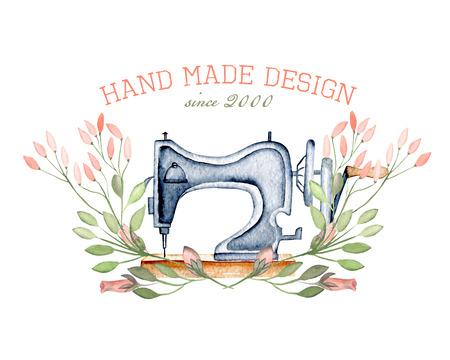Mockup van aquarel retro naaimachine en floral elementen, hand getrokken geïsoleerd op een witte achtergrond Stockfoto