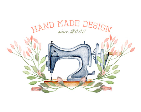 Modello di macchina da cucire retrò acquerello ed elementi floreali, disegnati a mano isolato su uno sfondo bianco Archivio Fotografico - 73599219