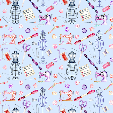Seamless pattern with watercolor sewing elements, hand drawn isolated on a blue background Stock Photo
