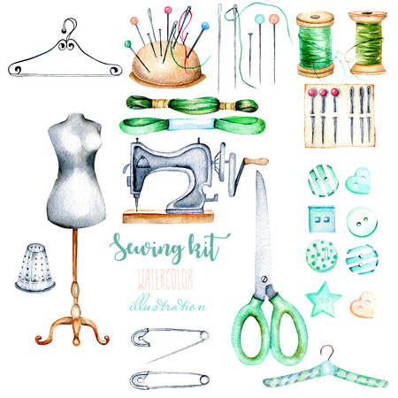 Set, verzameling waterverf naaien elementen, hand getekend geïsoleerd op een witte achtergrond