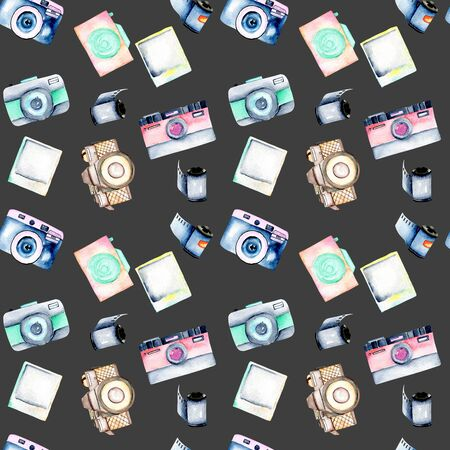 Seamless pattern with watercolor retro cameras, snapshots and films, hand drawn isolated on a dark background Stok Fotoğraf