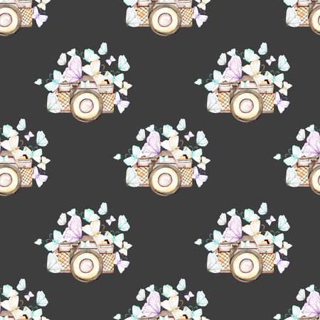 Seamless pattern with watercolor retro cameras and butterflies, hand drawn isolated on a dark background