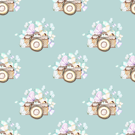 Seamless pattern with watercolor retro cameras and butterflies, hand drawn isolated on a blue background Stok Fotoğraf