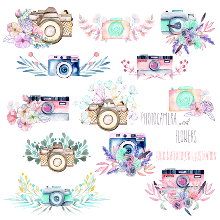 Set of logo mockups with watercolor cameras and floral elements, hand drawn isolated on a white background