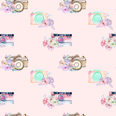 Seamless pattern with watercolor retro cameras in floral decor, hand drawn isolated on a pink background