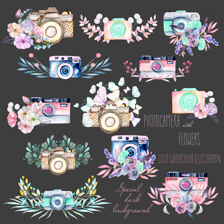 Set of logo mockups with watercolor cameras and floral elements, hand drawn isolated on a dark background Stok Fotoğraf