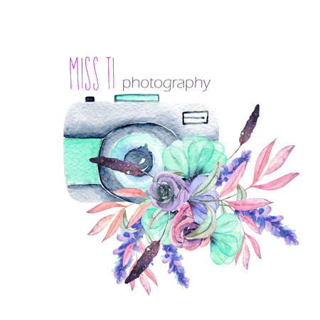 Mockup of logo with watercolor camera and floral elements, hand drawn isolated on a white background
