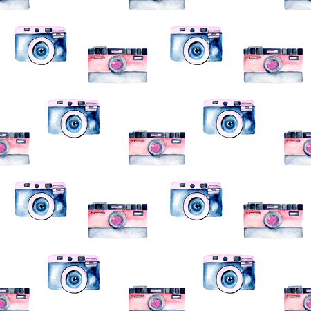 Seamless pattern with watercolor retro cameras, hand drawn isolated on a white background