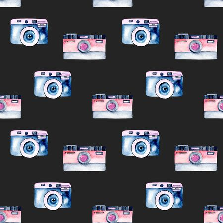 Seamless pattern with watercolor retro cameras, hand drawn isolated on a dark background