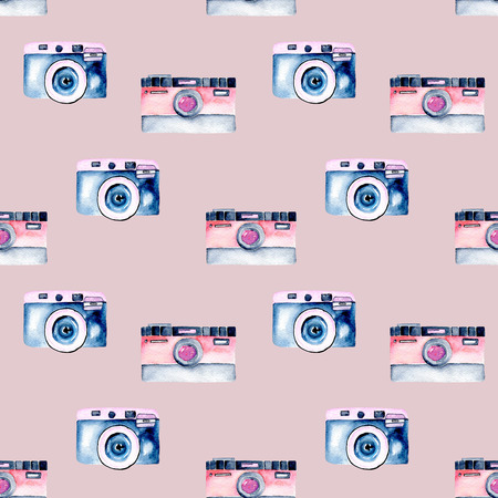 Seamless pattern with watercolor retro cameras, hand drawn isolated on a violet background