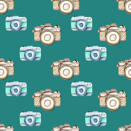 Seamless pattern with watercolor retro cameras, hand drawn isolated on a dark green background