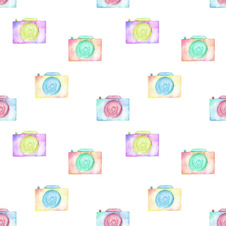 Seamless pattern with watercolor cameras, hand drawn isolated on a white background