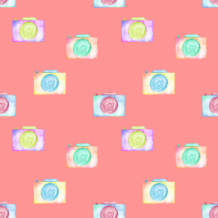 Seamless pattern with watercolor cameras, hand drawn isolated on a pink background