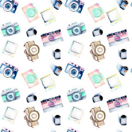 Seamless pattern with watercolor retro cameras, snapshots and films, hand drawn isolated on a white background