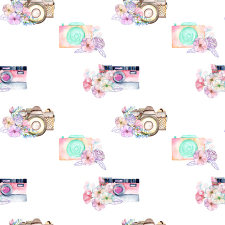 Seamless pattern with watercolor retro cameras in floral decor, hand drawn isolated on a white background