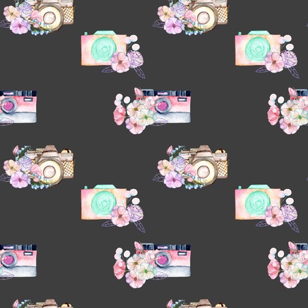 Seamless pattern with watercolor retro cameras in floral decor, hand drawn isolated on a dark background