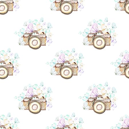 Seamless pattern with watercolor retro cameras and butterflies, hand drawn isolated on a white background
